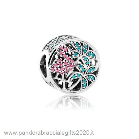 Saldi Pandora Shop Scintillante Paves Charms Tropicale Flamingo Leggero Cristallo Verdes Multi Colorato Cz